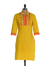 Yellow Full-sleeved Kurta With An Embroidered Placket - Awesome