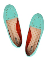 Mint Loafers With Metal Stud Embellishments - Miss Chase