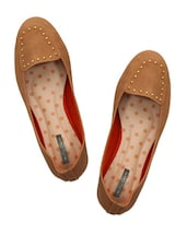Brown Loafers With Metal Stud Embellishments - Miss Chase