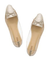 Pointy Cream Ballerinas With Transparent Side Detailing - Miss Chase