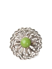 Fancy Flower Ring With Green Stone - Savi