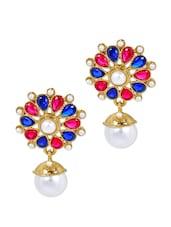 Stone Embellished Multicolour Earrings - Maayra