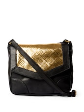 Stylish Black And Golden Sling Bag - DESI DRAMA QUEEN