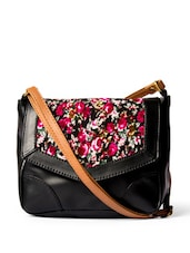 Trendy Black Sling Bag With A Floral Print Flap - DESI DRAMA QUEEN