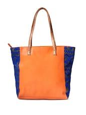 Stylish Orange Tote With Bright Blue Sides - DESI DRAMA QUEEN