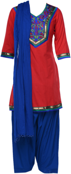 Red and Royal Blue Suit Set