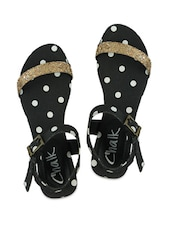 Blingy Gold, Black And White Polka Dotted Strappy Sandals - Chalk Studio