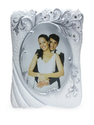 Embellished Scroll Detail White Photo Frame