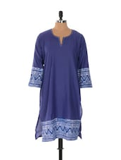 Blue Full-sleeved Kurta With Printed Hemline And Cuffs - Desiblush