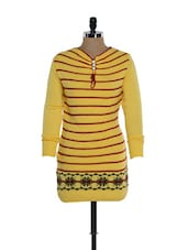 Yellow Woolen Top With Stripes - TAB91