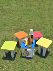 Multicoloured Compact 5 In 1 Multipurpose Table And Stool Set - Primeway