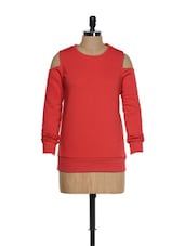 Red Sweatshirt With Shoulder Cut-outs - Femella