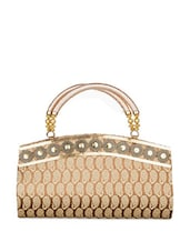 Brown And Golden Designer Pattern Tote Bag With Coin Pattern - SATCHEL Bags