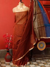 Red Rust Cotton Saree - Cotton Koleksi - 905109