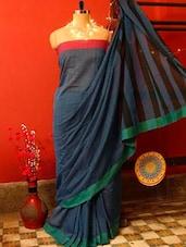Classy Blue Pakwan Cotton Saree - Cotton Koleksi