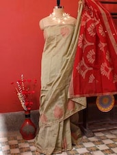 Beige And Red Resham Silk Saree - Cotton Koleksi