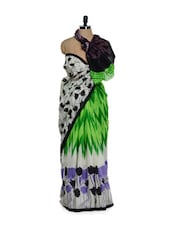 Colourful Floral Print Saree - Purple Oyster
