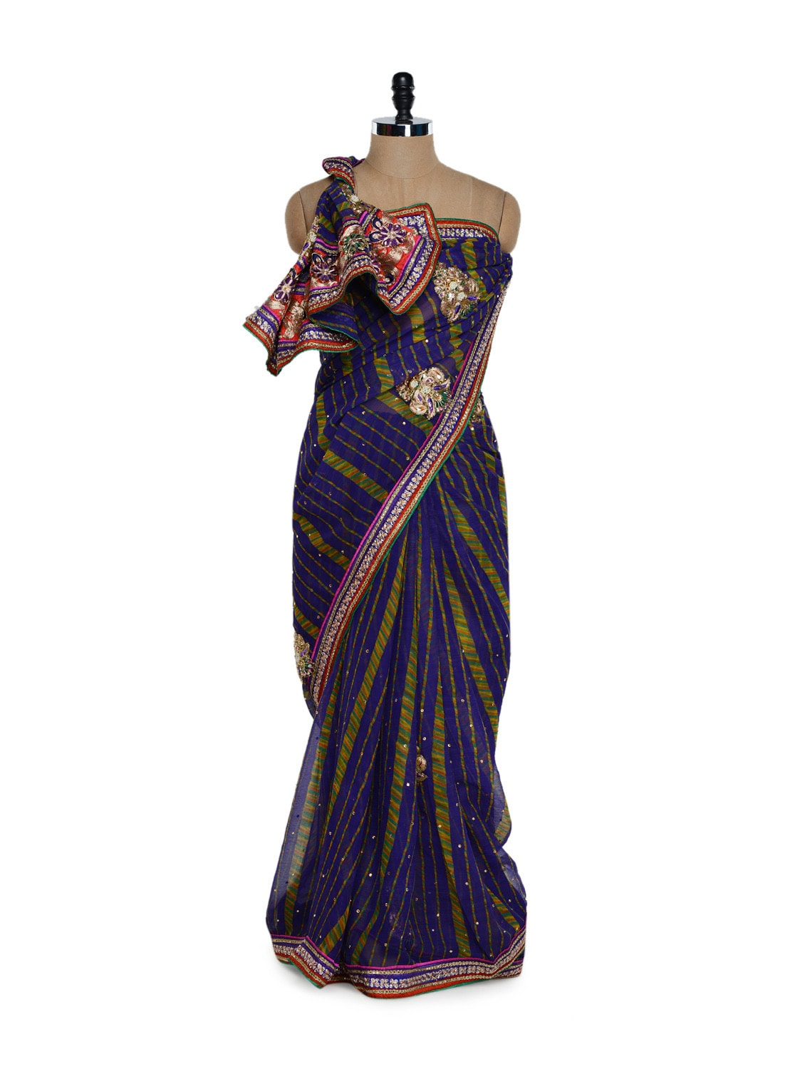 Printed Blue And Green Striped Saree - Purple Oyster