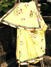 Yellow Georgette Sari With Embroidery Work, With Matching Blouse Piece - Urvashi's