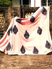 Baby Pink Saree With Greyish Blue Embroidery, With Matching Blouse Piece - Urvashi's