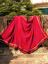 Wine And Red Embroidered Saree, With Matching Blouse Piece - Urvashi's