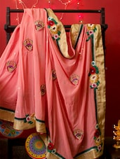 Designer Peachy Pink Saree With Thread Work, With Matching Blouse Piece - Urvashi's