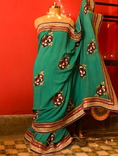 Stylish Green Saree With Wool Work, With Matching Blouse Piece - Urvashi's