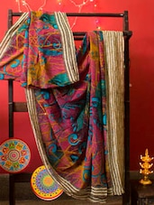Multi-coloured Georgette Saree, With Matching Blouse Piece - Urvashi's