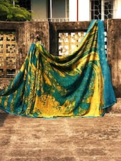 Blue And Yellow Unique Georgette Saree, With Matching Blouse Piece - Urvashi's
