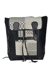 Black And White Geometrical Patterned Bag With Laptop Compartment - HARP