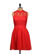 Red Sleeveless Red Lacey Dress - Besiva