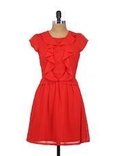 Red Dress With A Ruffled Neck - Besiva