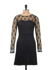 Plain Black Dress With Net Sleeves And Neck - Besiva