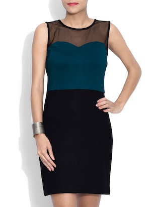 Black And Green Viscose Plain Sleeveless Sheath Dress