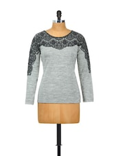 Grey Full Sleeved Black Lace Patch Top - Besiva