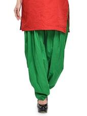 Solid Green Cotton Patiala Salwar - Stylenmart