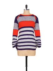 Grey Base Top With Blue And Red Stripes - Madrona