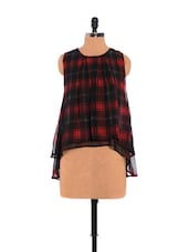 Checkered Sleeveless Top In Black And Red - URBAN RELIGION