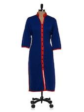 Royal Blue Kurta With Front Slit - Tissu