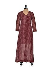 Maroon Front Open Maxi Dress - Magnetic Designs