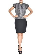 Grey Animal Print Neck-Tie Dress - Color Cocktail