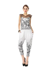 White And Black Printed Jumpsuit - Glam And Luxe
