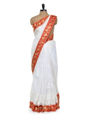 Pristine White Floral Saree With Red And Gold Border - Sascreations