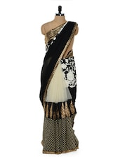 Black And White Saree With Gold Border - Sascreations