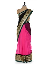 Lovely Pink And Black Saree With Gold Border - Sascreations