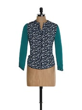 Navy Blue And White Dot Print Top With Teal Sleeves - Kaaryah