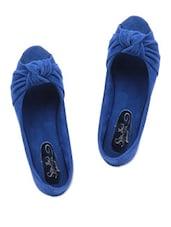 Royal Blue Peep-Toe Ballerinas - SINDHI FOOTWEAR