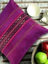Purple Cushion Cover With Ambi Brocade - ANS