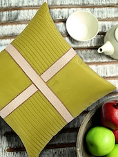 Lime Green Cushion Cover With Criss Cross Brocade Patti - ANS