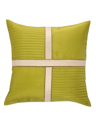 Lime Green Cushion cover with criss cross brocade patti - 907739 - Standard Image - 2